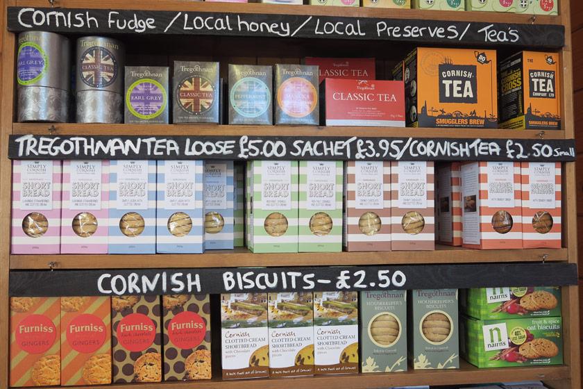 Cornish groceries on shelves