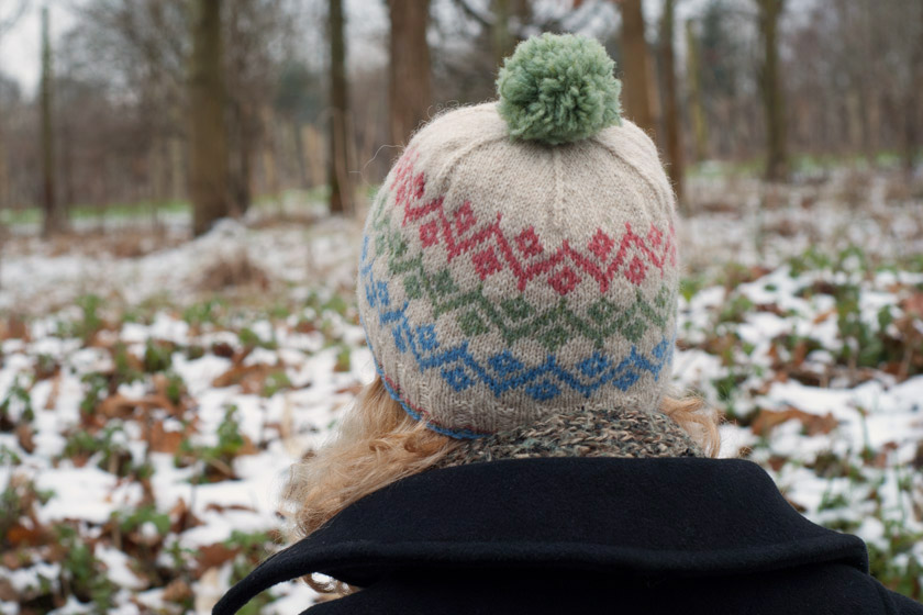 Back of knitted hat with bobble
