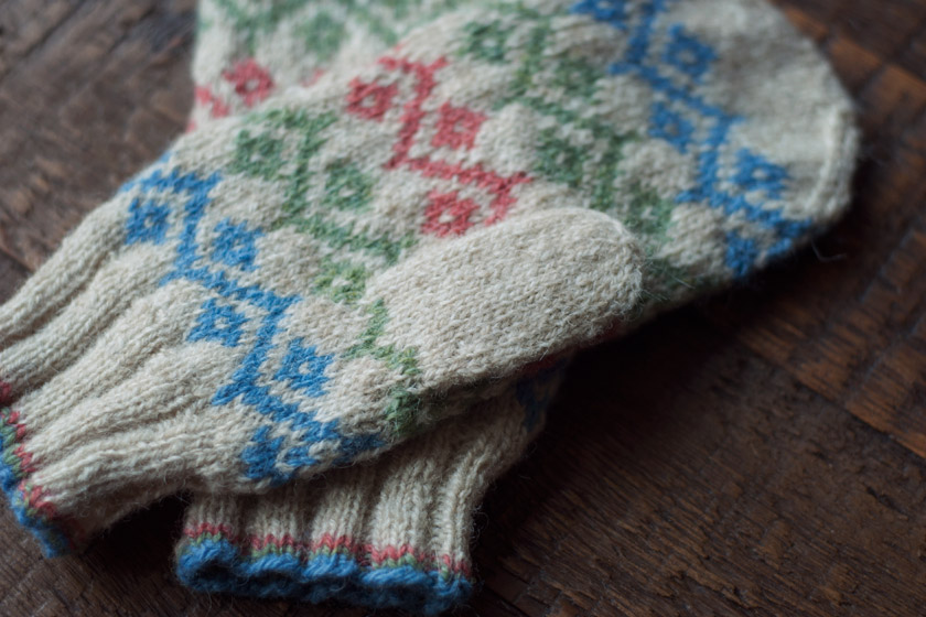 Fair Isle mittens on table