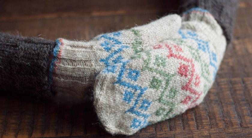 Knitted fair isle mittens