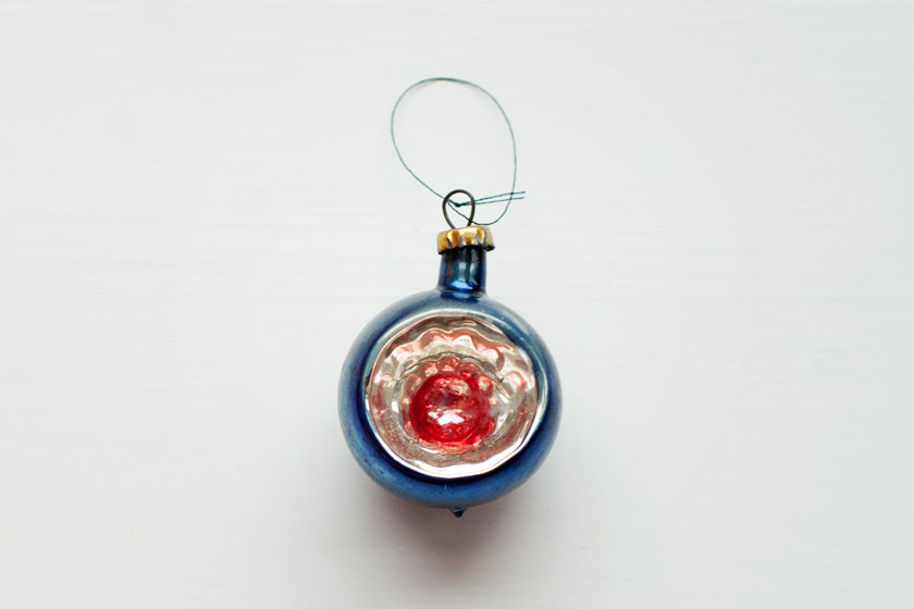 Blue red and silver glass bauble