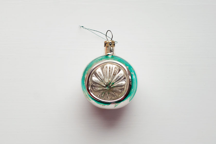Green and silver glass bauble