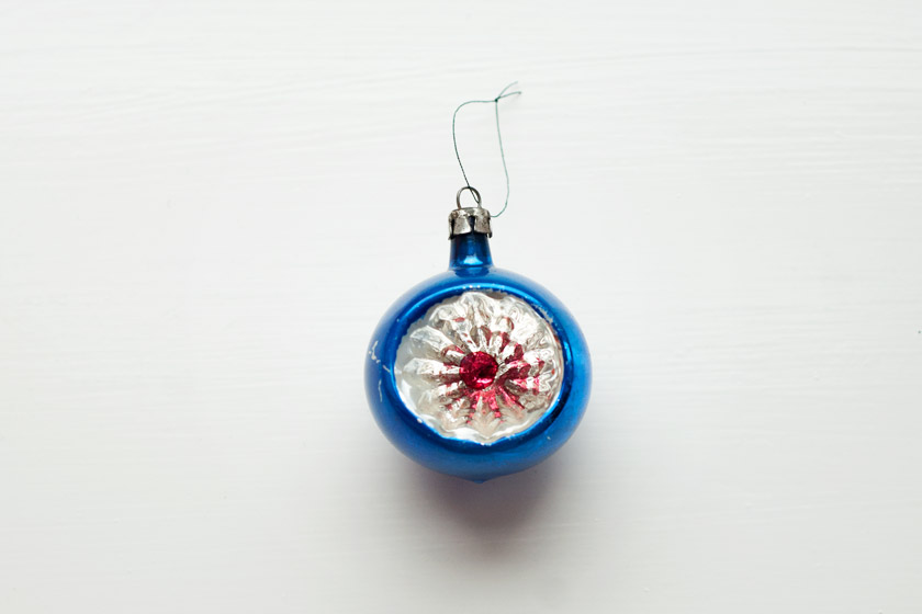Electric blue glass bauble