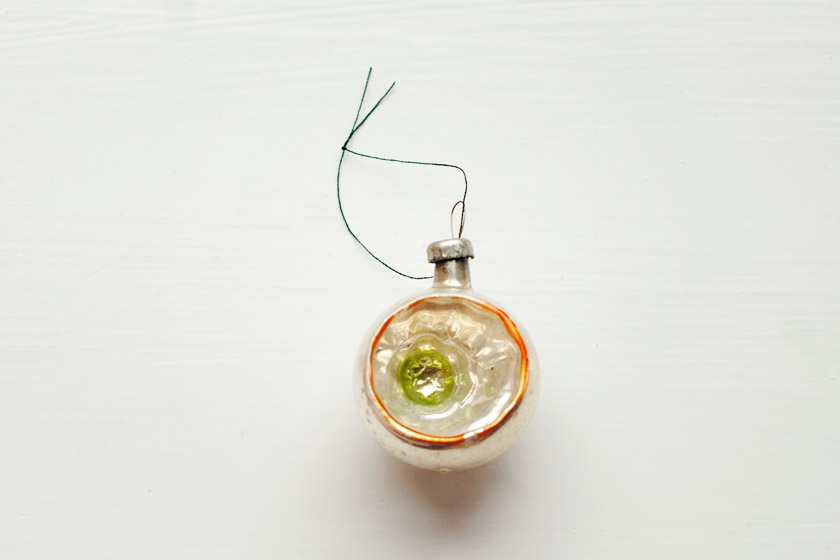 Silver and orange glass bauble