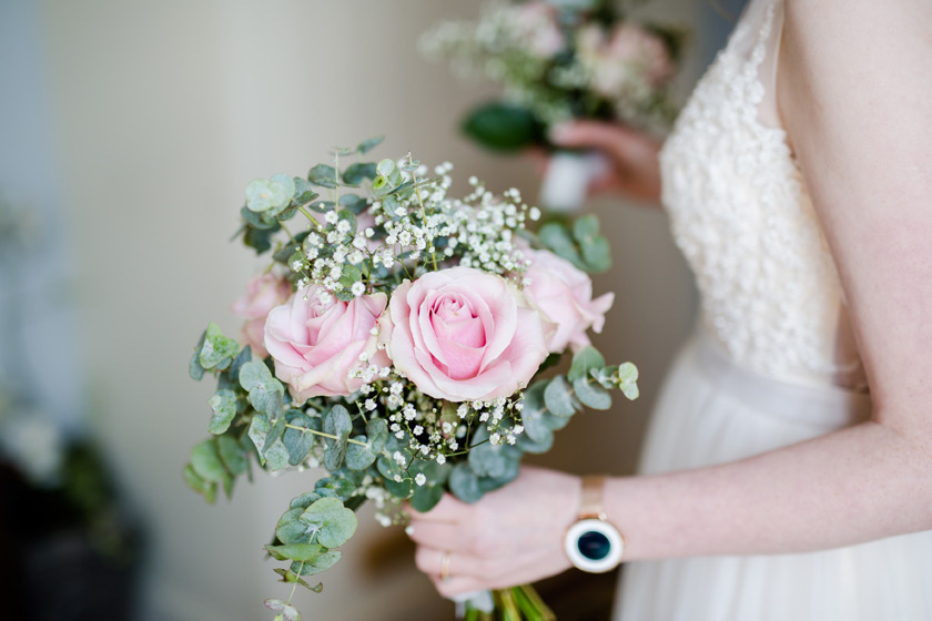 Rose and eucalyptus wedding flowers