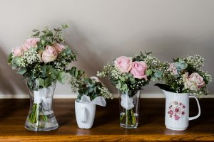 Wedding bouquets in vases