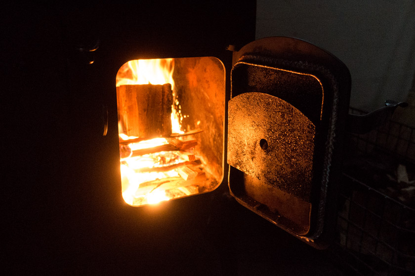 Flames inside wood burner