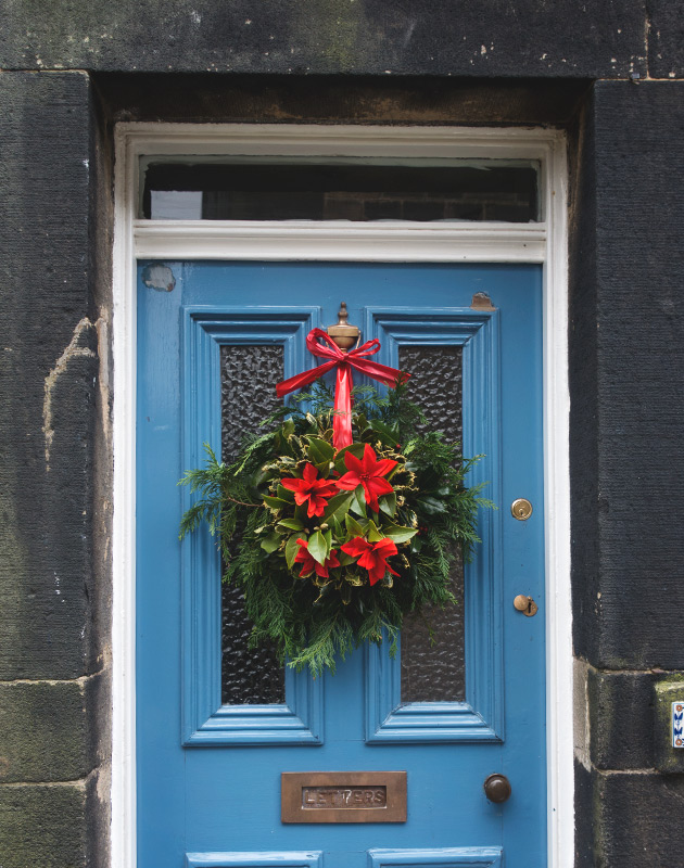 Wreath on blue door