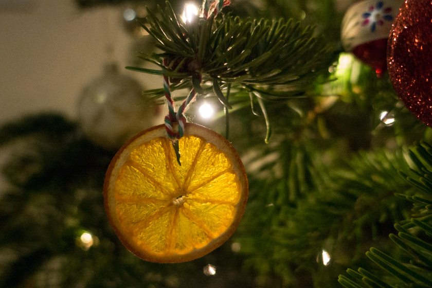 Orange slice on Christmas tree