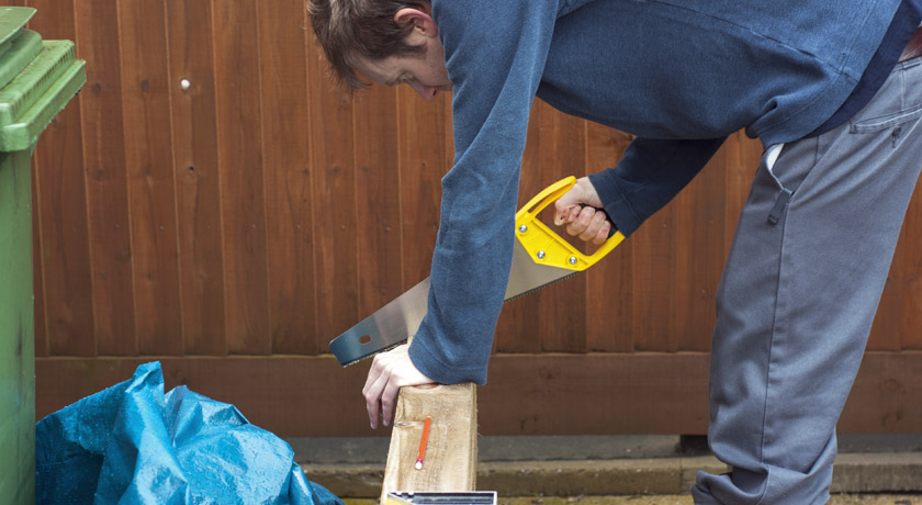 Cutting the softwood sleepers