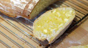 Freshly buttered bread