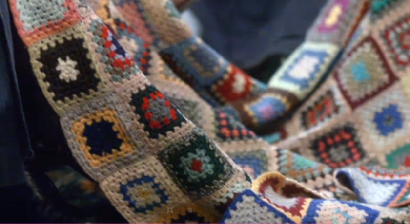 Closeup of granny square blanket in Call The Midwife