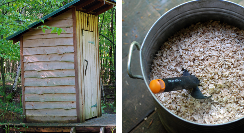 Composting toilet and sawdust bin