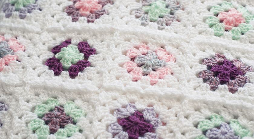 Pastel coloured crochet granny squares