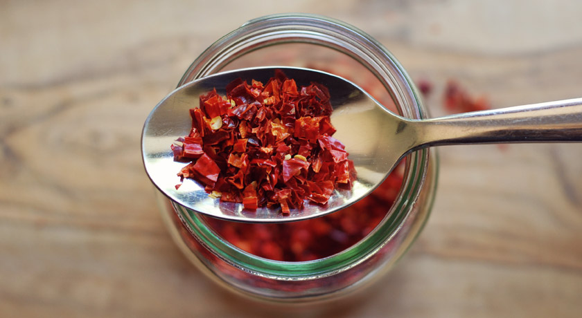 Jar of dried chillies
