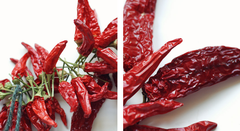 Dried chillies strung up into a lazy ristra