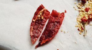 Dried chilli cut in half