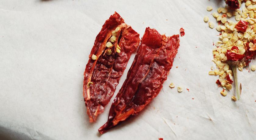 Dried chilli cut in half