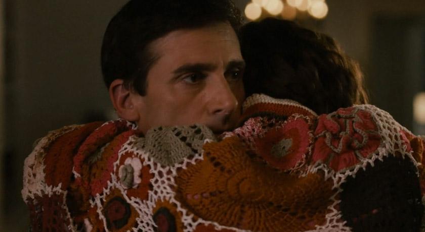 Wool crochet flower blanket in muted colours