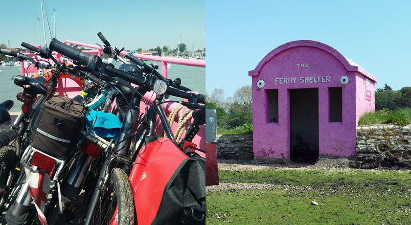 Pink Hamble ferry shelter