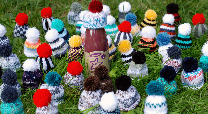 Knitted wooly hats for Innocent's Big Knit 2013