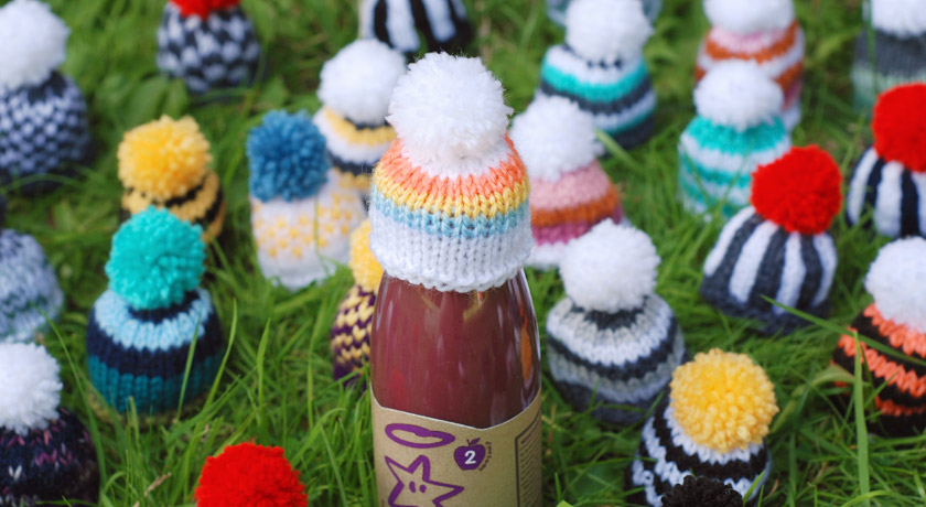Colourful, stripy wool hat for Innocent's Big Knit