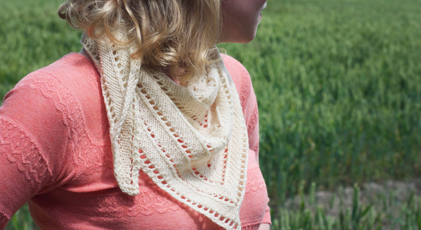 Knitted cream triangle scarf