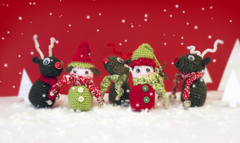 Crochet reindeer and elves in the North Pole