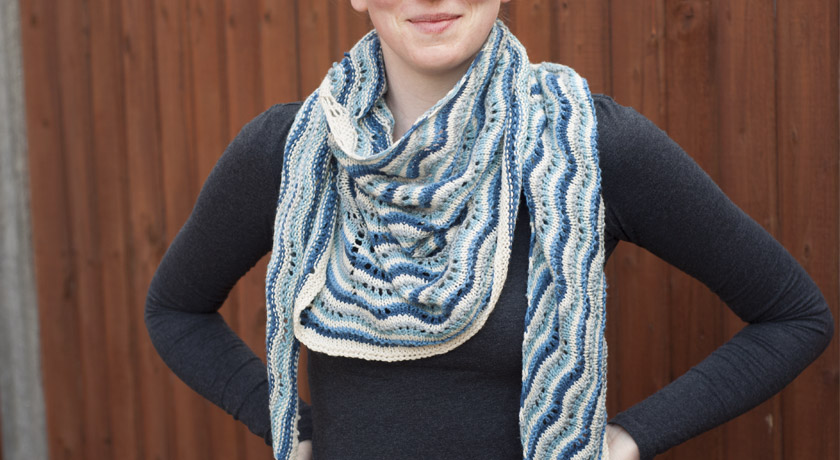 Blue Northmavine Hap worn as a scarf