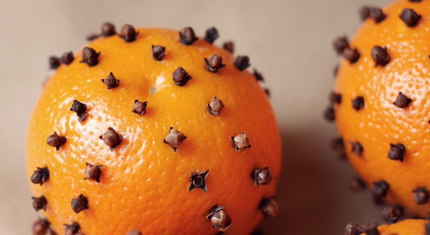 Clove studded orange pomanders