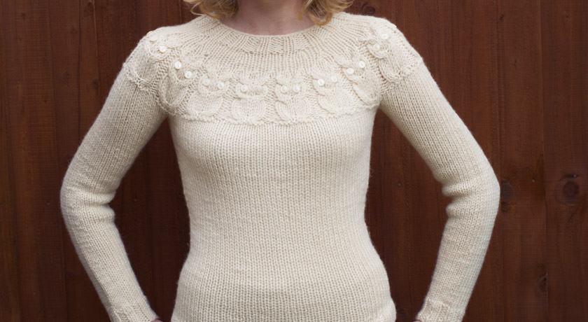 Cream Owls jumper - front