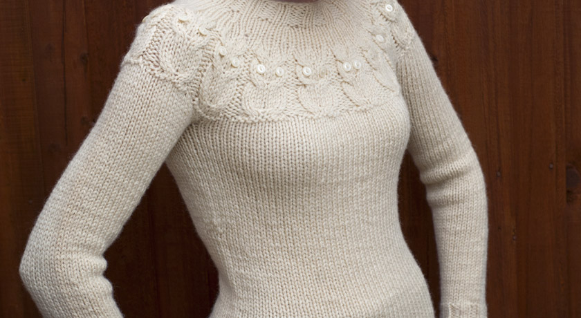 Cream Owls jumper - side