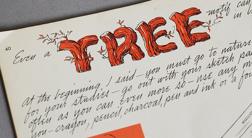 The word 'tree' illustrated in the style of bark