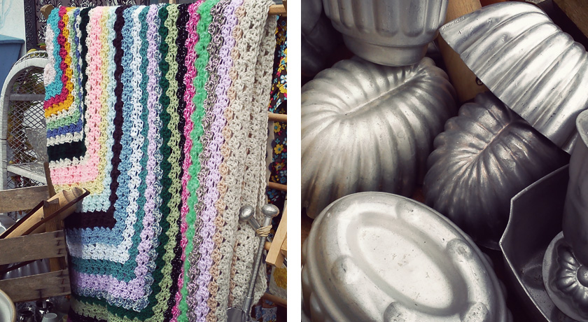 Crochet blanket and vintage jelly moulds, Zero2vintage
