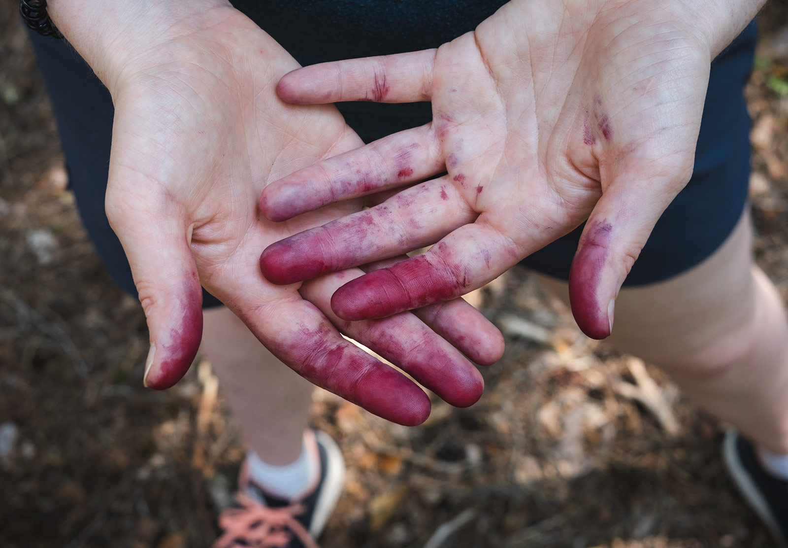 Fingers stained with purple juice
