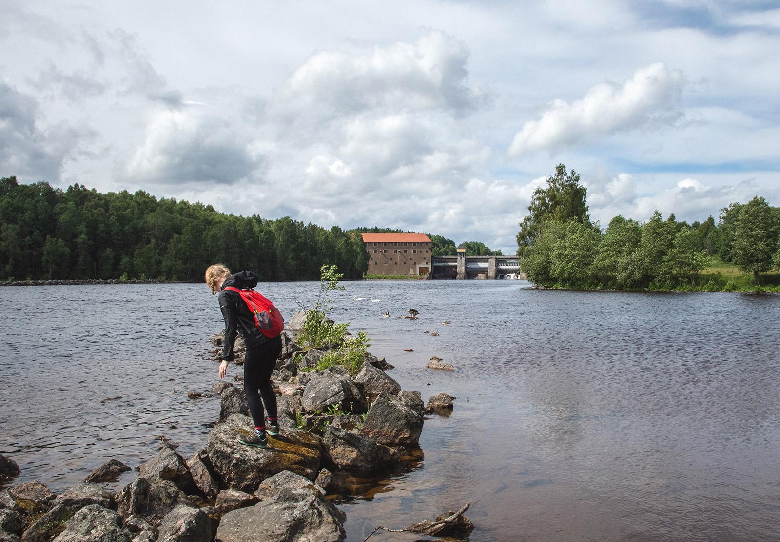 Walking on rocks in water