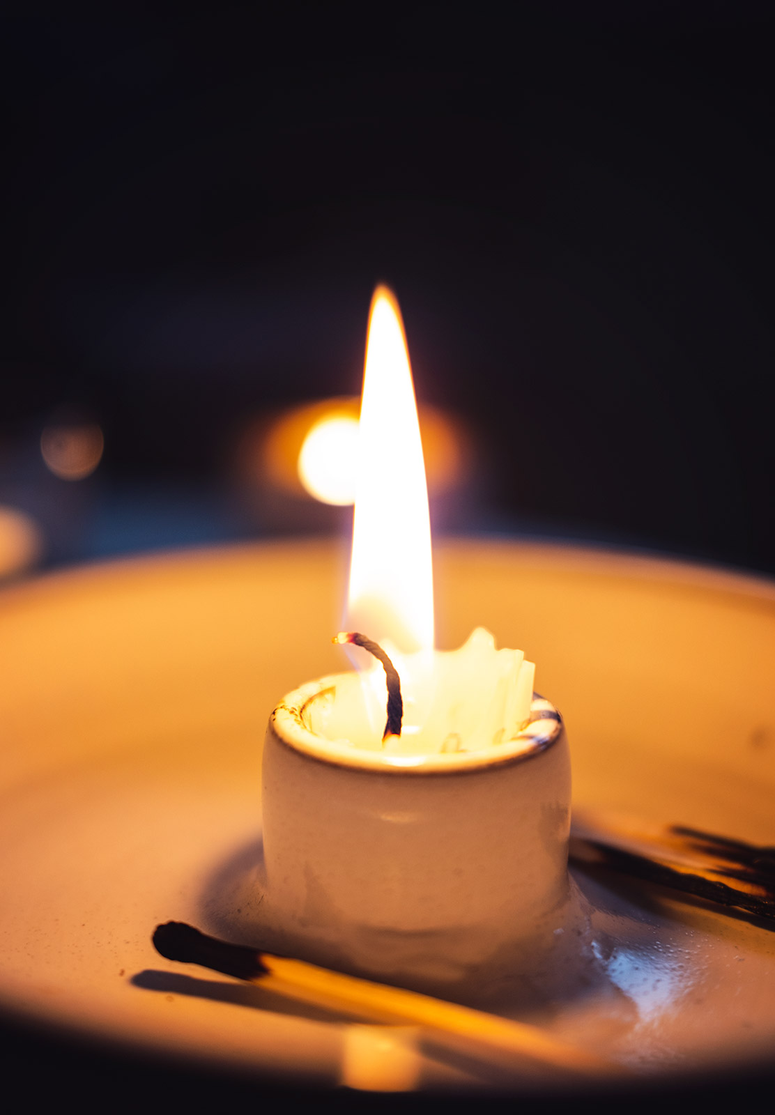 Orange glow from candle