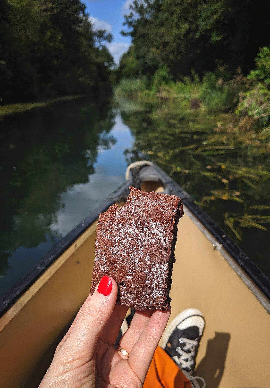 Chocolate brownie on canoe