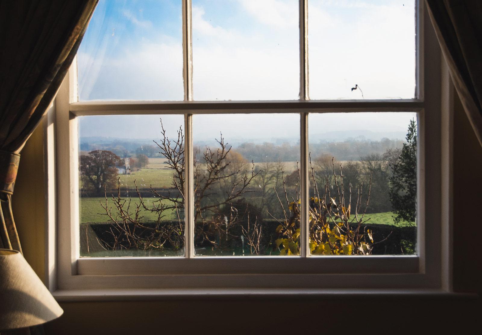 Rural view through window