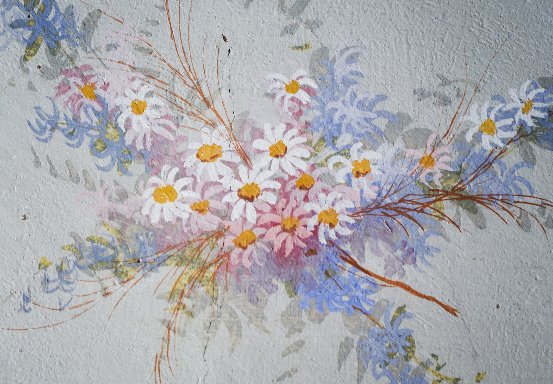 Painted floral mural
