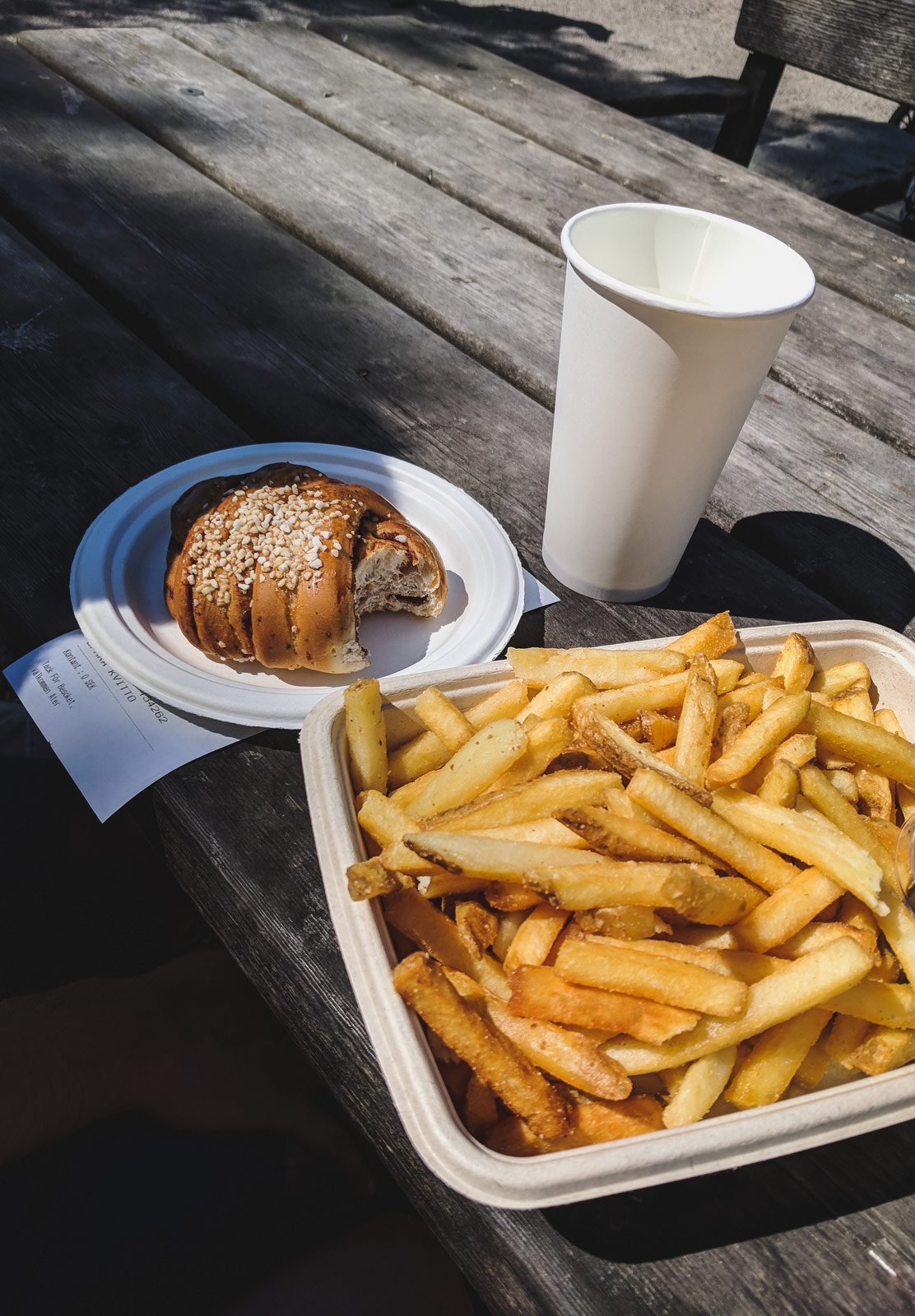 Chips and a cinnamon bun