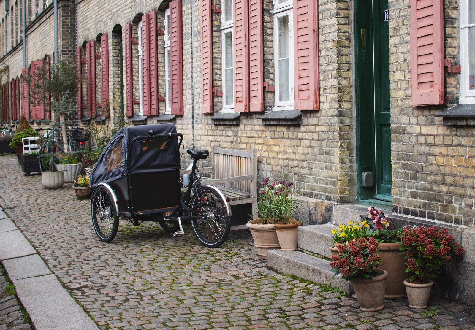 Cargo bike in cobbled street