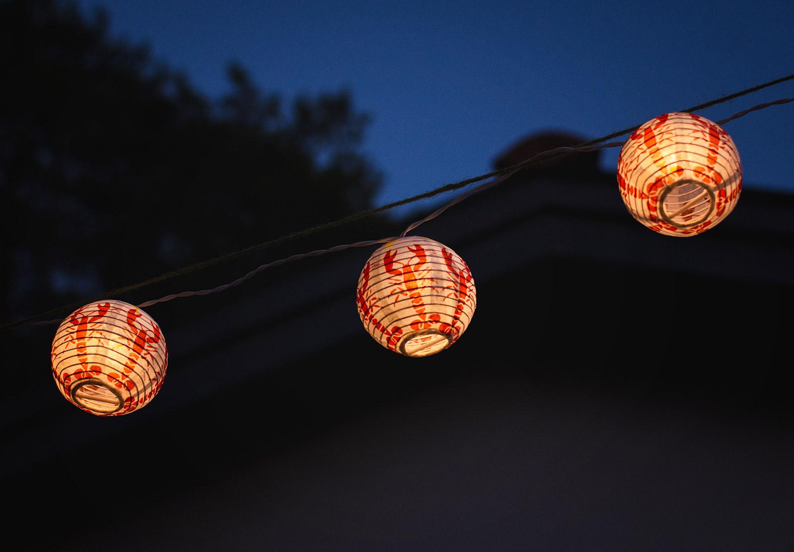 Lit crayfish lanterns