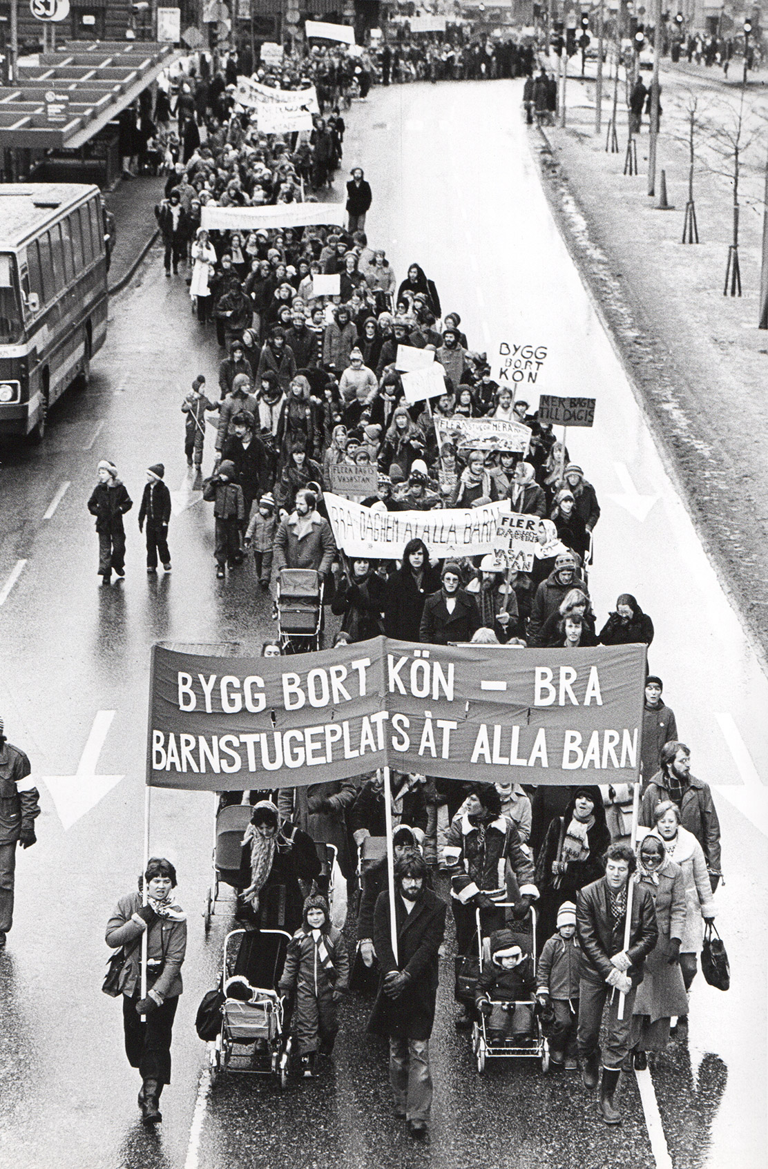 Line of people at a demonstration