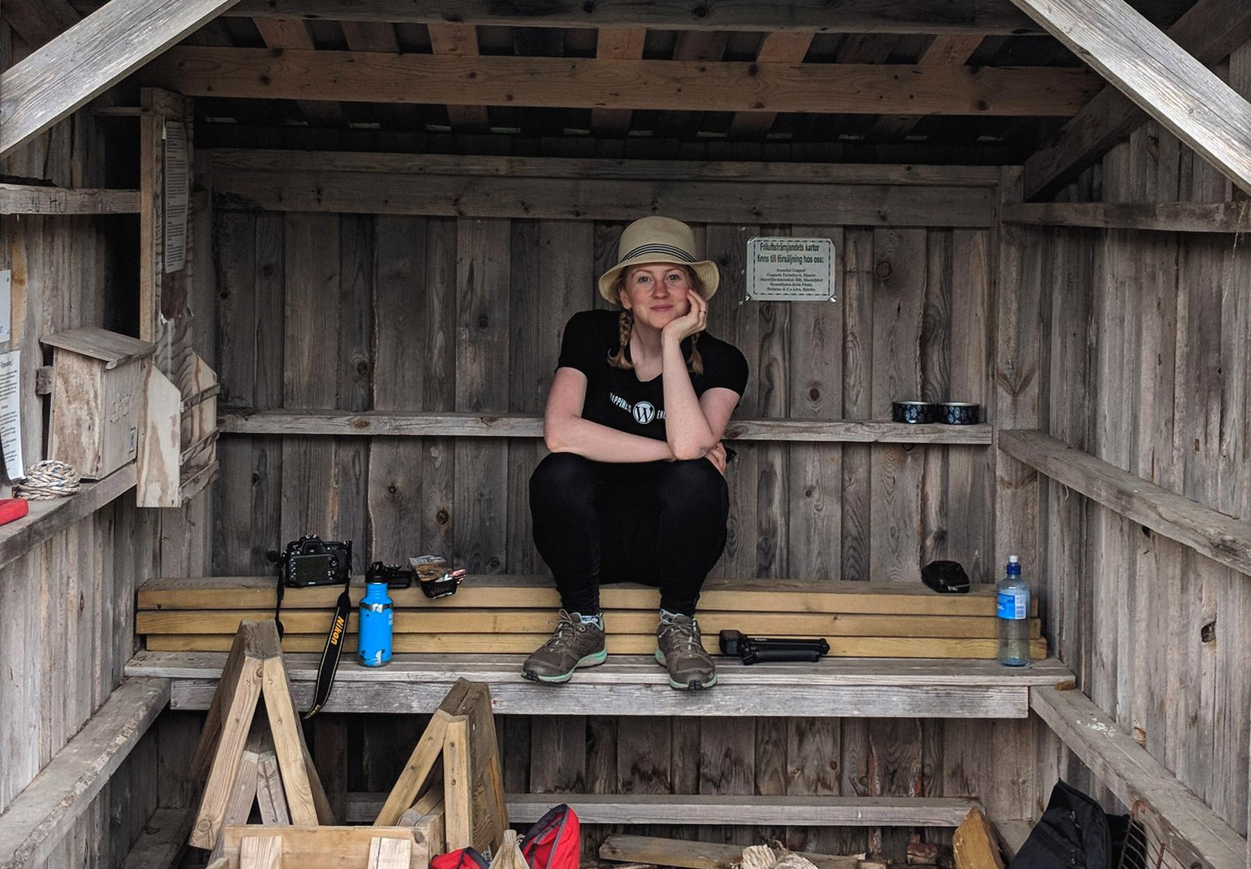Me inside cabin