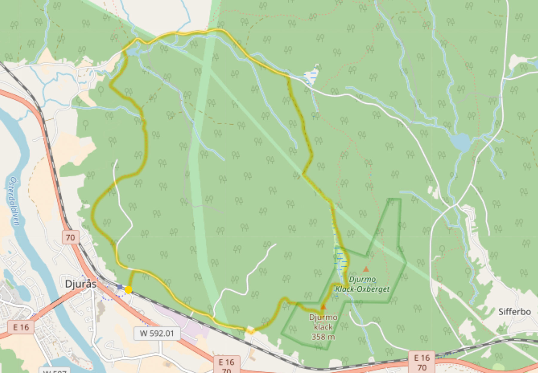 Hiking route on map