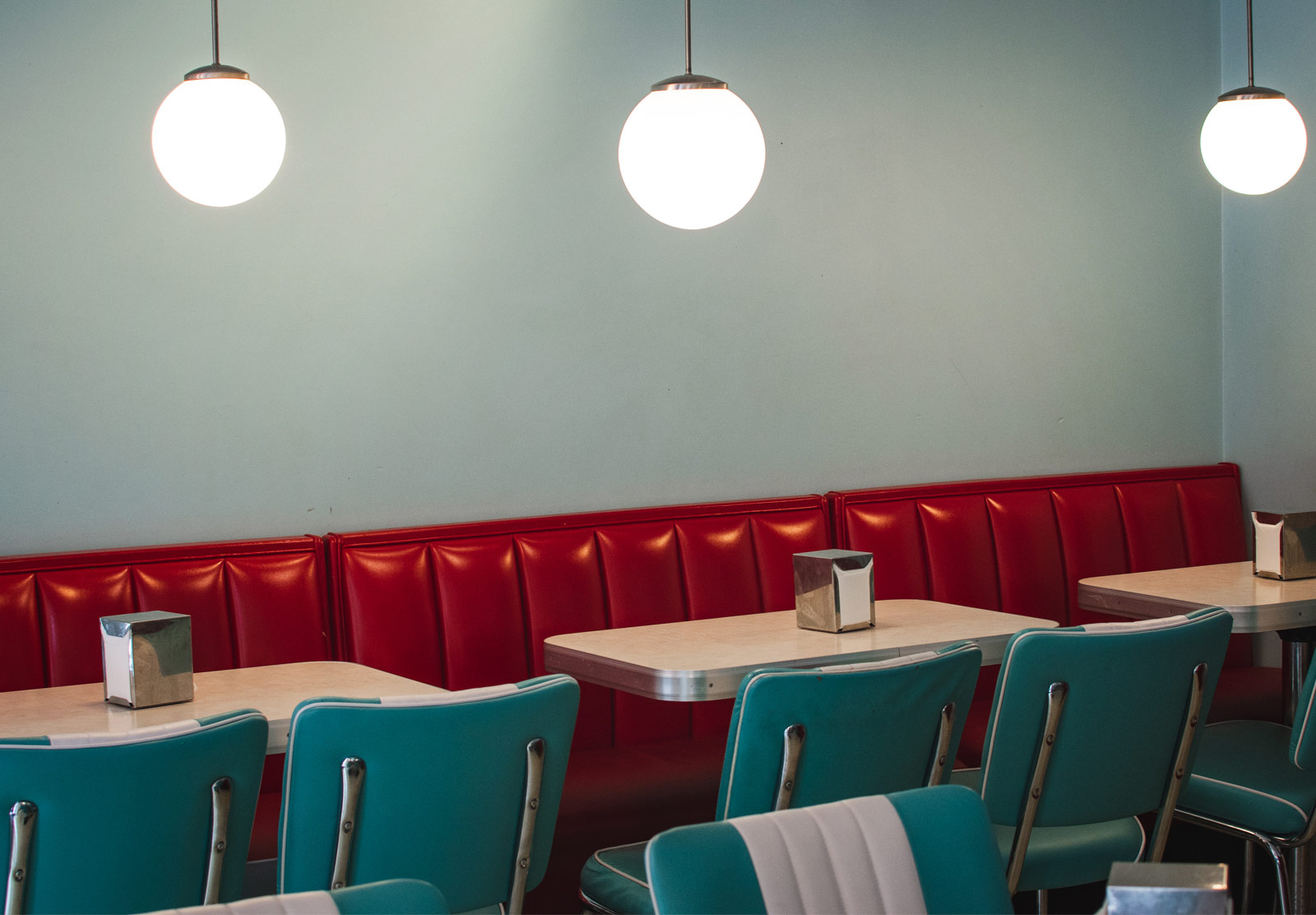 Blue and red diner decor