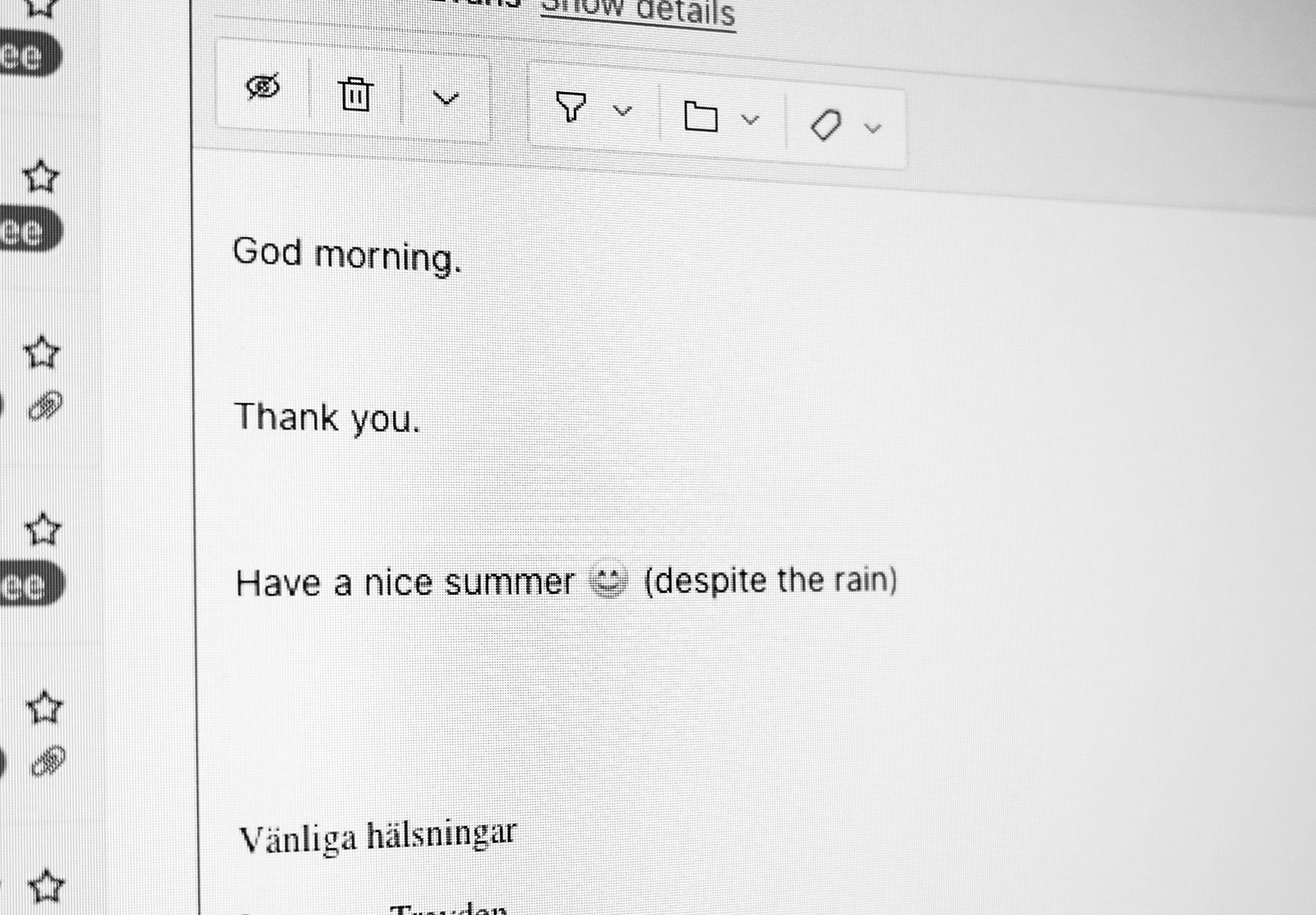 Email text