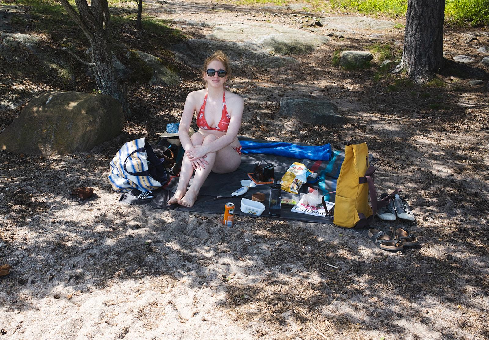 Woman sat on the beach