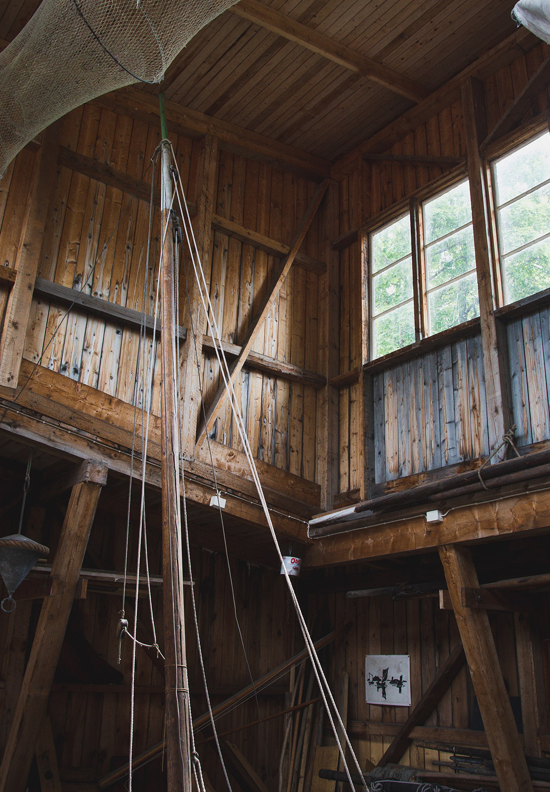Wooden boat house interior